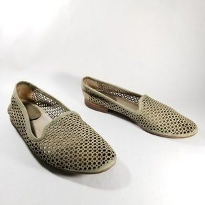 Frye Green Jillian Perforated Leather Slip Ons